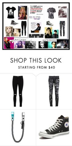 """""""Avril lavigne and Billie Joe Armstrong"""" by xxrebeccaxx123 ❤ liked on Polyvore featuring White Label, Boohoo, Dsquared2 and Converse"""