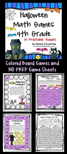 Halloween Math Games for Fourth Grade - Colored math board games and black and white print and play sheets! $
