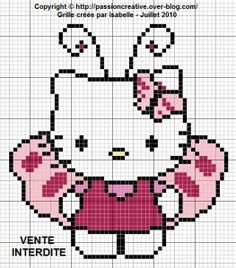 Grille gratuite point de croix : Hello Kitty papillon - Le blog de Isabelle