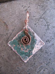 Patina Copper Jewelry Handmade Diamond by Gasquetgirl on Etsy, $9.25