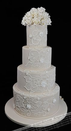Ivory and White Lace Wedding cake; wedding cakes from NJ/NYC/PA