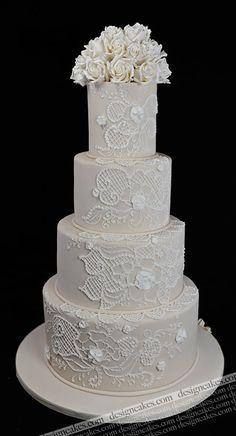 Ivory and White Lace Wedding cake; wedding cakes from NJ/NYC/PA