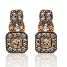 14K Strawberry Gold® Earrings with Chocolate Diamonds 3/4 Cts., Vanilla Diamonds 1/20 Cts.