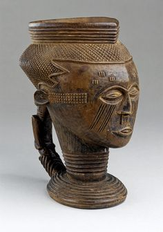 Africa |  Kuba peoples cup.  DR Congo | Material:  carved wood.