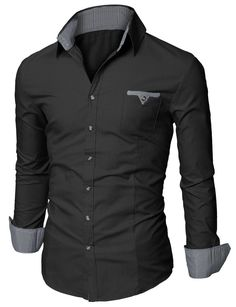Doublju Mens Slim Fit Cotton Flannel Tailored Shirt Black US X-Small / Asia  Small