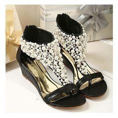 Women's Sandals Wedge High Heel Shoes Open Toe Studded Rhinestone Summer Footwear