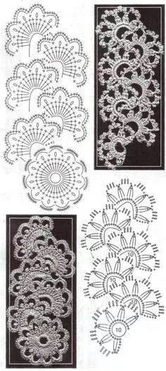 Crochet Lace Pattern Irish Crochet Lace Edgings Pattern Vintage Crafts And More. Crochet Lace Pattern Many Wonderful Variations Of Queen Annes Lace Crochet Stitch With. Crochet Lace Edging, Crochet Motifs, Crochet Diagram, Crochet Stitches Patterns, Crochet Chart, Lace Patterns, Thread Crochet, Irish Crochet, Crocheted Lace