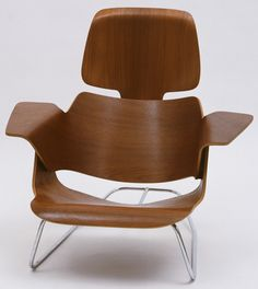 "Experimental Lounge Chair  Charles Eames (American, 1907–1978) and Ray Eames (American, 1912–1988)    c. 1944. Molded plywood and steel rod, 28 3/4 x 30 1/8 x 30"" (73 x 76.5 x 76.2 cm). Gift of the designers"