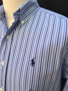 Polo #RalphLauren #Mens #Shirt Small Classic Fit Blue White Striped Cotton #menswear #mensfashion #mensstyle #triedandtested