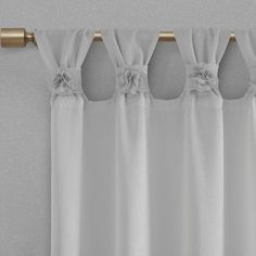 Shop Madison Park Florah Floral Embellished Cuff Tab Top Solid Window Panel - On Sale - Overstock - 20599436 Tab Top Curtains, Hanging Curtains, Drapes Curtains, Nursery Curtains, Sheer Drapes, Sheer Fabrics, Thing 1, Window Panels, Window Coverings