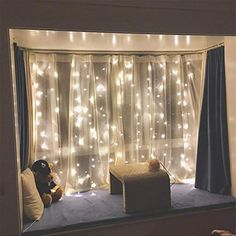 Boho Bedroom Twinkle Star 300 LED Window Curtain String Light Wedding Party Home Garden Bedroom Outdoor Indoor Wall Decorations, Warm White Dorm Room Curtains, Window Curtains, Sheer Curtains, Curtains For Girls Room, Garden Bedroom, Home Decor Bedroom, Bedroom Ideas, Warm Bedroom, Trendy Bedroom