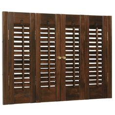 allen   roth�35-in-37-in W x 28-in L Colonial Mahogany Wood Interior Shutter