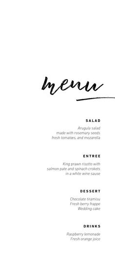 Printable wedding menu Custom Wedding menu Minimalist