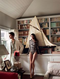 Warm Bodies - Like characters in a novel by Duras or Durrell, Cameron and Luke escape the torrid midday rays for a sultry interlude. Tomas Maier zebra palm-print swimsuit, $525; tomasmaier.com. Céline ballerina heels. On Grimes: Dunhill linen suit. Agnès B. Homme shirt.