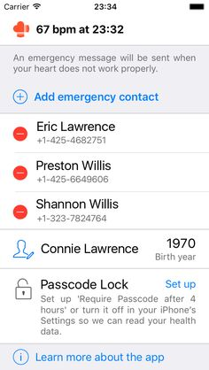 RscMe - Rescue & Emergency app for Apple Watch - you set up the app on your iPhone.  When your heart is not working properly (exceeding your maximum heart rate or dropping critically low), a text message with your name, location, and heart rate will be sent to your selected emergency contacts.