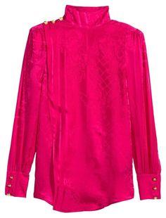 BALMAIN x H&M Pink Extremely Rare Kylie Jenner Jacquard Silk Sz 12 Top