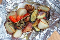 veggie packets on the grill - easier then just putting them direclty on the grill, especially when it comes to turning them