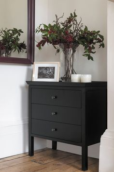 Neptune Aldwych Warm Black 3 Drawer Chest of Drawers Chest Of Drawers Decor, Black Chest Of Drawers, Chest Of Drawers Makeover, 3 Drawer Chest, Rustic Furniture, Living Room Furniture, Painted Furniture, Dining Rooms, Contemporary Chest Of Drawers