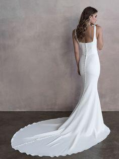Style: 9810   Allure Bridals Strappy Wedding Dress, Minimal Wedding Dress, Wedding Dress Chiffon, Wedding Dress Styles, Designer Wedding Dresses, Bridal Dresses, Wedding Gowns, Bridesmaid Dresses, Bridal Boutique