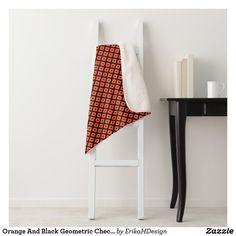 Orange And Black Geometric Checkered Pattern Sherpa Blanket