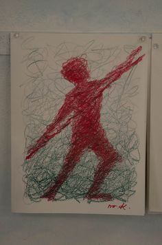 "5th Grade: Drawing; ""Away from the outline line""; Pentathlon - Javelin thrower"