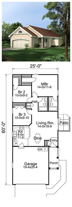 Cabin Cottage Ranch Traditional House Plan 86988