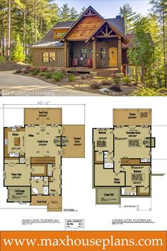 Small rustic cabin design with open floor plan by Max Fulbright. #houseplans