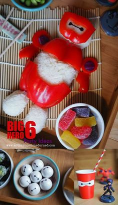 What fun Big Hero 6 Baymax party ideas! I love this rice ball. How clever to use the red peppers. Free printable to make the Baymax cups and Wilton edible markers for the gum balls. #BigHero6Release #ad