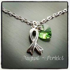Brain Tumor / Brain Cancer Grey Ribbon Awareness Necklace w/ Swarovski Birthstone on Etsy, $29.00