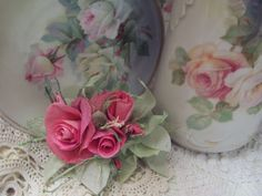(PRB2) Victorian Paper Rose Clip Lamp Decor Chic n Shabby
