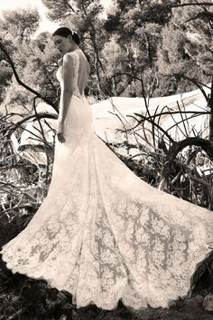 White mermaid, with open back and Chantilly lace Chantilly Lace, Mermaid, Wedding Dresses, Collection, Fashion, Bride Dresses, Moda, Bridal Gowns, Fashion Styles