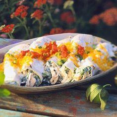 Creamy chicken and spinach enchiladas.