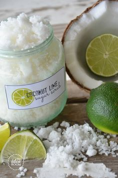 Coconut Lime Sugar Scrub. You need coconut oil, plain white sugar, shredded coconut and lime essential oils to make it. Just melt the coconut oil in a microwave, add the other ingredients and mix. Each recipe gives you a cup of scrub which is enough for a good body scrub. After use, just rinse and shower as usual.