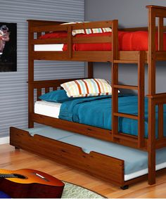 Light Espresso Mission Trundle Bunk Bed
