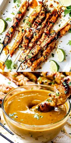 Thai Chicken Satay (baked or grilled) BAKED OR GRILLED easy Thai Chicken Satay with Peanut Sauce is one of my absolute favorite recipes with the most addicting Peanut Sauce ever! I made this twice in one week and I still… Continue Reading → Gluten Free Recipes For Dinner, Easy Dinner Recipes, Appetizer Recipes, Easy Meals, Meat Appetizers, Holiday Appetizers, Grilling Ideas For Dinner, Come Dine With Me Ideas Recipes, Thai Food Recipes Easy