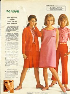 Spiffy pink and orange (or red, as the catalog claims) fashions. 60s And 70s Fashion, 60 Fashion, Fashion Poses, Pink Fashion, Retro Fashion, Vintage Fashion, Fashion Outfits, Vintage Dresses, Vintage Outfits