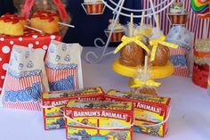 Animal crackers at a circus birthday party! See more party ideas at CatchMyParty.com!
