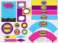 Superhero Girl Party Printable Package - Instant Digital Download - Super Hero Girl Party Pack - lemon blvd