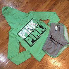 Victoria's Secret PINK Hoodie/ shorts set XS NWT PINK Victoria's Secret Jackets & Coats
