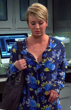 Penny's blue floral long sleeved blouse on The Big Bang Theory.  Outfit Details: http://wornontv.net/36995/ #TheBigBangTheory Equipment Femme  Lynn Floral-Print Blouse, Peacoat-Blue
