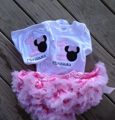 Pink and black minnie mouse birthday outfit  1st by CEBowtique, $49.00