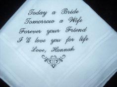 Wedding Hankie Handkerchief Poem from Bride by EmbroiderybyCathy1500 x 1125 | 152.8KB | www.etsy.com