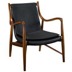 Finn Juhl Style Model 45 Chair in Black Lexmod.com 1099