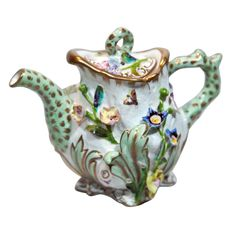 Coalbrookdale Miniature Teapot with Applied Flowers and Insects at 1stdibs
