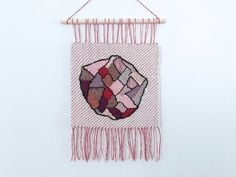 Hand Woven Wall Hanging  Gemoetric  Fiber Art  Tapestry