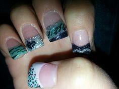 Teal black silver nails