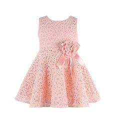Tonsee ガールズワンピース 子供服 綿 レース やわらか肌着 ノースリーブ 花柄 プリンセスドレス パーティードレス