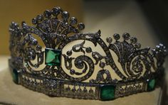 Antique Tiara (made by Boucheron; emeralds, diamonds).