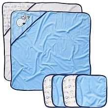 Koala Baby Ensemble de 2 serviettes et 4 débarbouillettes Baleine bleue