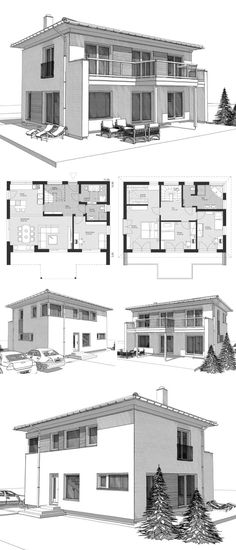 Small Villa Modern Country Style Architecture Design House Plans ELK Haus 158 - Dream Home Ideas with Open Floor and 2 Storey Layout by ELK Fertighaus - Arquitecture Contemporary European Styles House Plan and Interior - HausbauDirekt. Simple House Plans, Simple House Design, Modern House Plans, House Plans 2 Storey, 2 Storey House Design, Modern Architecture Design, Plans Architecture, Architecture Interiors, Small Villa